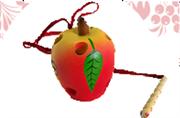 Яблоко худож. окрашенное шнуровка ДШ-075  8х6см