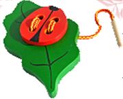 Жучок на листике шнуровка крашенный ДШ-018  16х9см