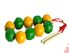 Бусы счет до 10 (желто-зеленые)ДИ-002 диаметр 3,5см