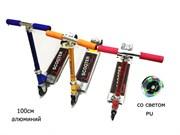самокат 3 колеса PU со светом 100 см 3 цвета (син, желт, крас) акция сезонная скидка 50%(113379)